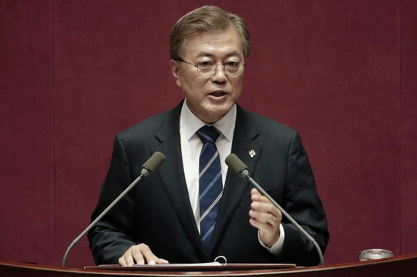 South Korean President Moon Jae In delivers a speech at the National Assembly in Seoul, on June 12, 2017.