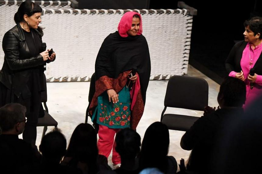 Pakistani human rights activist Mukhtar Mai (centre) receiving a standing ovation, on June 16, 2017.