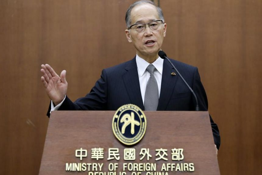 Taiwan's Minister of Foreign Affairs David Lee speaking inside the ministry's building in Taipei, on May 24, 2016.