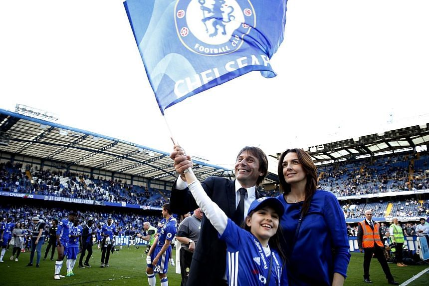 Antonio Conte celebrating with his wife Elisabetta and daughter Vittoria after Chelsea sealed the Premier League last month. Conte had hoped the Blues would make a significant number of acquisitions in view of the club's return to the Champions Leagu
