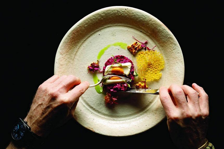 Beet, not beef tartare with cream fraiche and fennel-carrot puree by Emmanuel Stroobant.