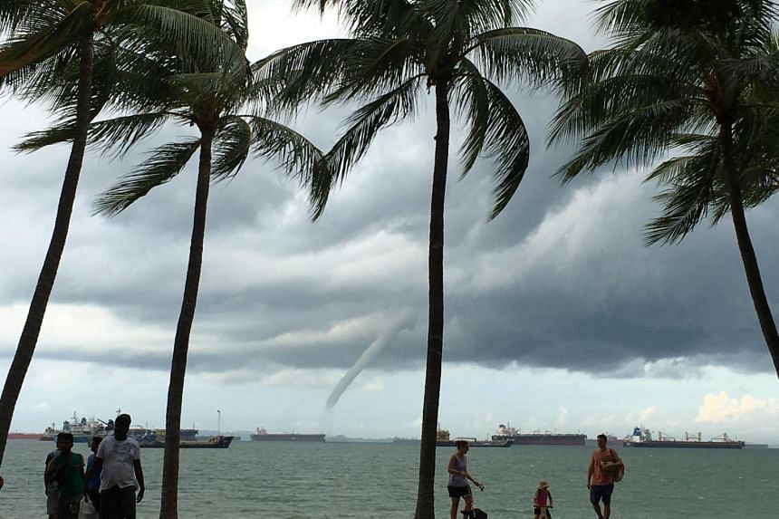 Large waterspout off East Coast Park on June 18, 2017.