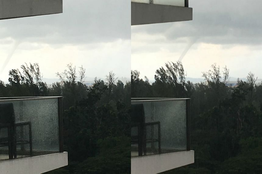 A large waterspout seen from a condominium in East Coast on June 18, 2017.