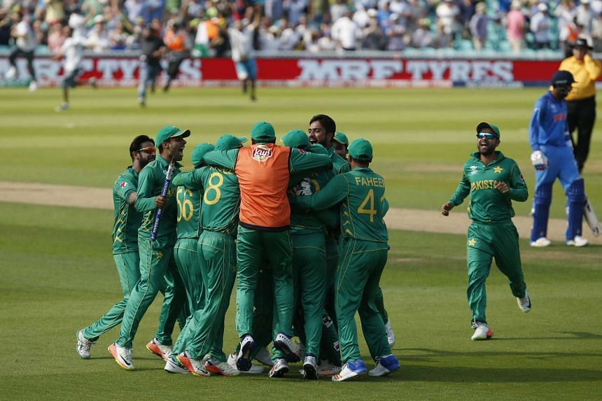 The Pakistan cricket team celebrate after bowling out arch-rivals India for a mere 158 runs.