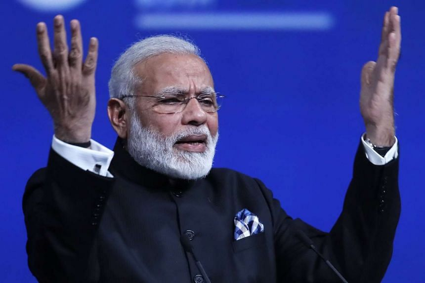 Indian Prime Minister Narendra Modi delivers his speech during a session of the 2017 St. Petersburg International Economic Forum in St Petersburg, Russia on June 2 2017.