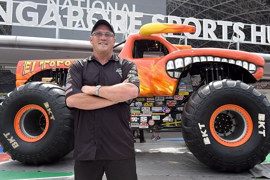 Truck driver Dan Evans competes in Monster Jam, a motorsport event originating from the United States.