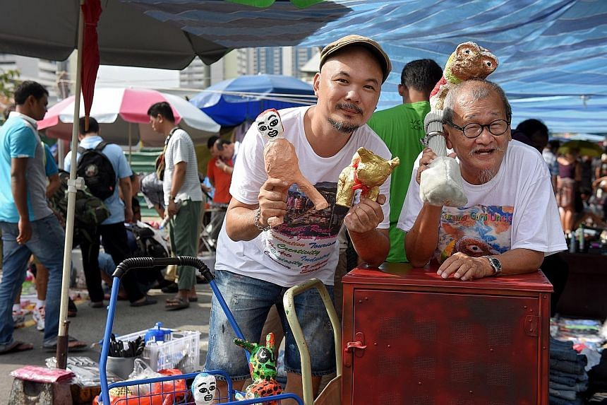 Inspired by the rich heritage of the Sungei Road flea market, two artists showcased their works there yesterday. The artworks by Mr Ben Puah, 40, and Mr Teo Eng Seng, 78, are part of their Karung Guni Uncles project, which they have been working on s