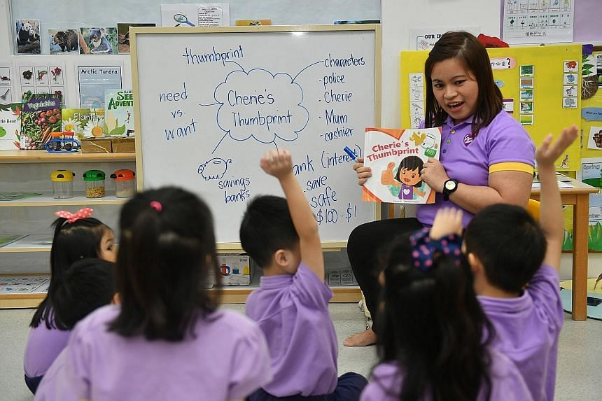 Pupils from Cherie Hearts @ Upper Thomson at the pre-school's financial literacy class. They can clearly understand the concepts taught and are happy to put into practice what they learn, said branch director Ong Yen Lyn. Pre-schoolers at Dreamkids g
