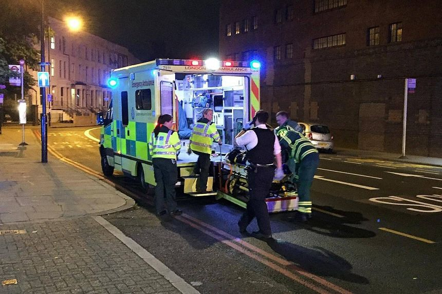 Emergency services near Finsbury Park in North London, Britain on June 19, 2017.