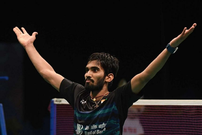 Srikanth Kidambi celebrates winning the men's singles title of the Indonesia Open badminton tournament in Jakarta on June 18, 2017.