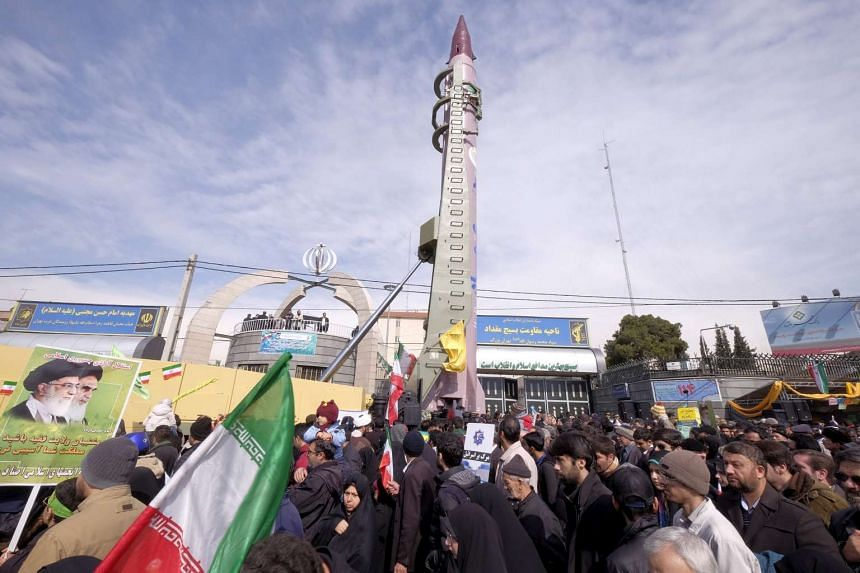 Iranian-made Emad missile is displayed during the 37th anniversary of the Islamic Revolution, in Teheran on Feb 11, 2016.