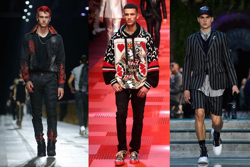 Models at the recent Milan Men's Spring/Summer 2018 fashion shows for (from left) Philipp Plein, Dolce & Gabbana and Versace.