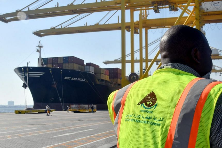A container ship docked at the Hamad port in Doha-Qatar.