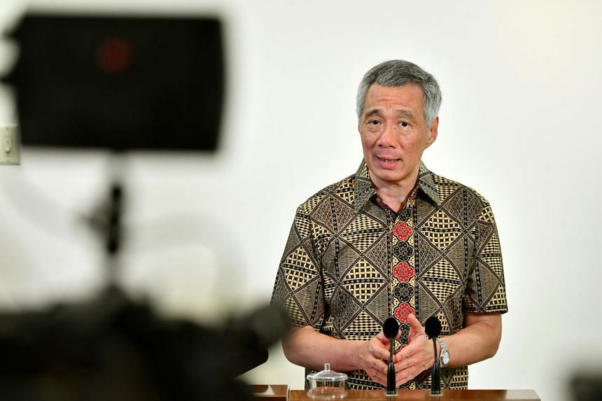 Prime Minister Lee Hsien Loong, during a media doorstop after an iftar session at Tanglin Police Division, on June 20, 2017.
