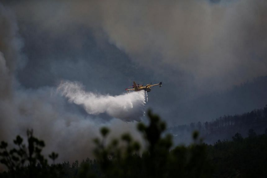 A firefighting plane dumps water on a forest fire in Cadafaz, near Goes, Portugal on June 20, 2017.