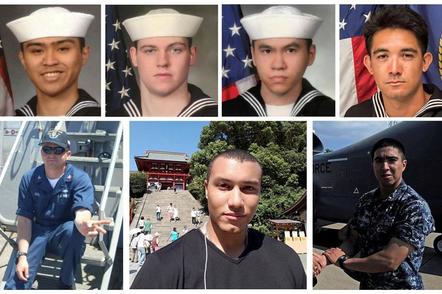 Dead sailors identified by the US Navy in the collision incident between US Navy destroyer USS Fitzgerald and Philippine-flagged merchant vessel south of Tokyo Bay on June 17, 2017.