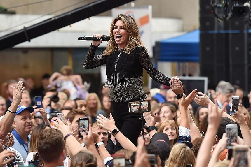 Shania Twain performing on NBC's Today show in New York City last week. The crossover country star is returning with a new album after 15 years.