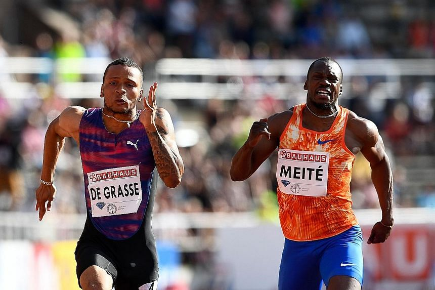 Canada's Andre De Grasse wins the men's 100m ahead of Ivory Coast's Ben Youssef Meite in a wind-assisted 9.69sec at the IAAF Diamond League athletics competition in Stockholm on Sunday. The top five all went under than 10sec.