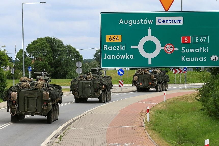 A US convoy on its way to Suwalki, Poland, on Saturday. The frontier has a long history of ethnic tensions between Poland and Lithuania.