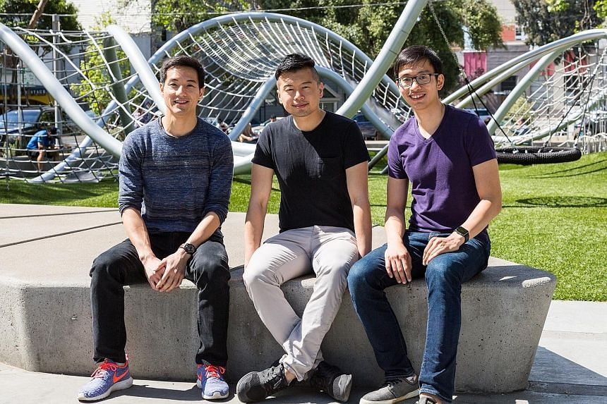 Spin co-founders (from left) Cheng Zaizhuang, 35, Euwyn Poon, 32, and Derrick Ko, 31. Their competition in the US comes in the form of station-based bike-share systems such as Citi Bike in New York City. But they believe their stationless model and t