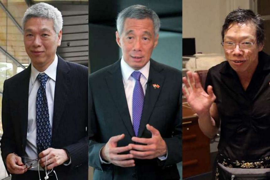 Prime Minister Lee Hsien Loong (centre) and his younger siblings Lee Hsien Yang (left) and Lee Wei Ling.