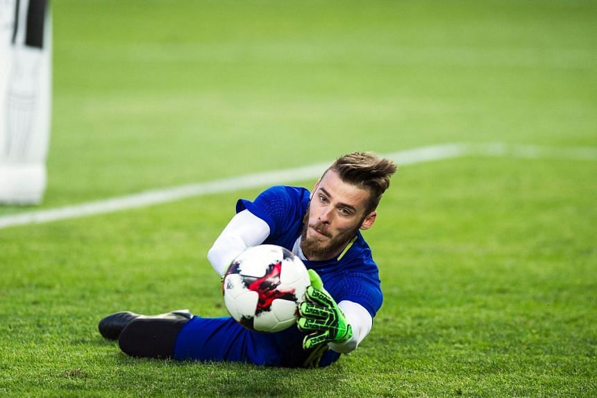 Manchester United's goalkeeper David de Gea takes part in a training session in Skopje on June 10, 2017,