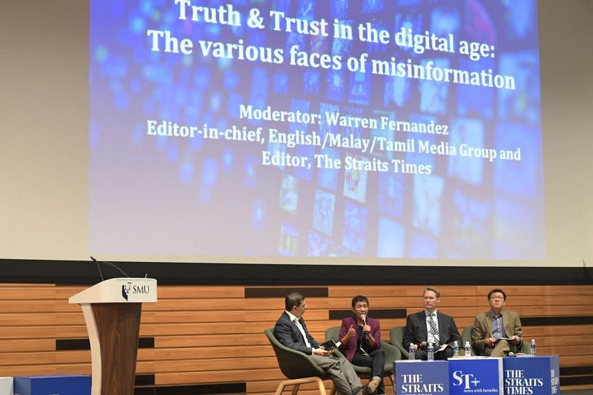 """Panellist speaking at the """"Keep it Real: Truth and Trust in the Media"""" forum."""