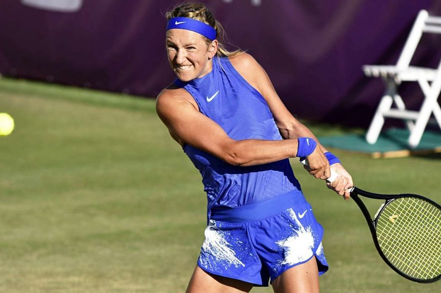 Victoria Azarenka, returning to Japan's Risa Ozaki in the first round of the Mallorca Open on June 21, 2017, gave birth to son Leo in December and had not played a competitive match since last year's French Open.