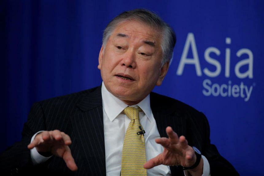 """Professor Chung In Moon speaks on a """"Crisis on the Peninsula: Implications for the US - Korea Alliance"""" panel at the Asia Society in New York, US, on June 19, 2017."""