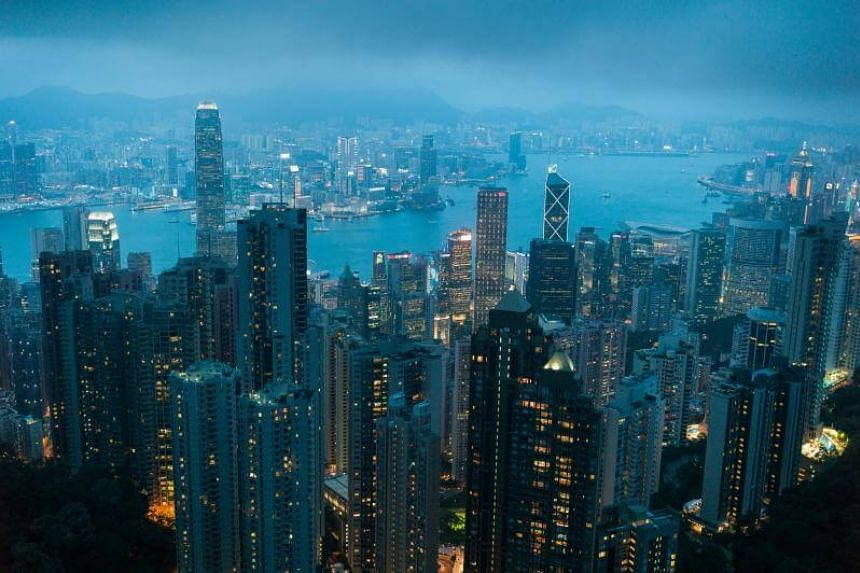 A view from commercial and residential buildings on both sides of the Victoria Harbour in Hong Kong, China, on June 15, 2017.