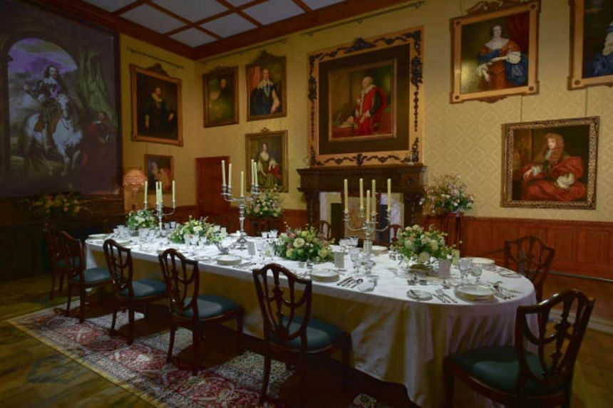 The recreation of the Downton Abbey dining room at the exhibition.