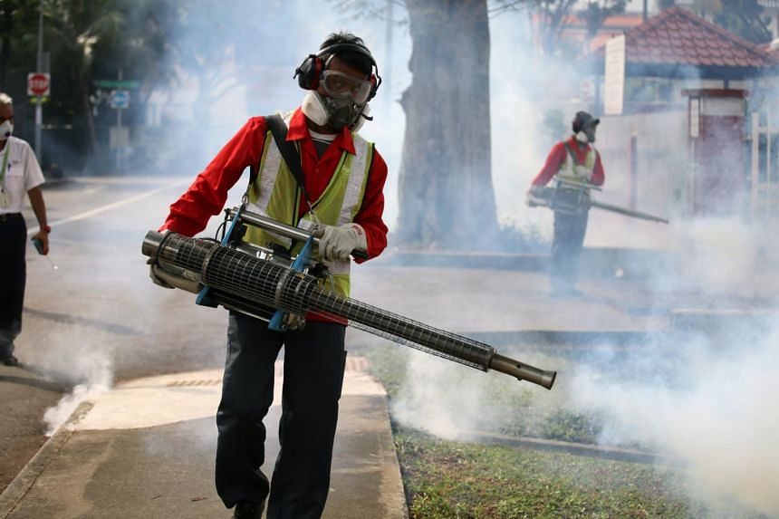 Pest control and National Environment Agency officers fogged Simon Place and the surrounding area on after the first Zika cluster of the year was reported there, on March 30, 2017.