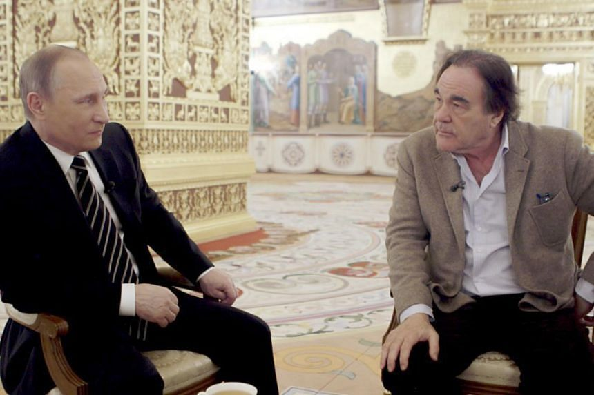 Russian President Vladimir Putin and film director Oliver Stone in the four-part documentary The Putin Interviews.