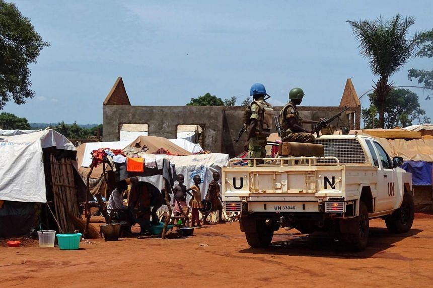 UN peacekeepers from Gabon patrolling in the Central African Republic town of Bria on June 12, 2017.