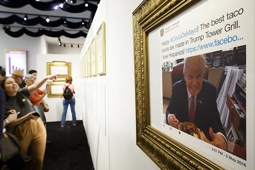 The Daily Show's Donald J. Trump Presidential Twitter Library pop-up museum, launched last Friday in New York, features framed reproductions of the American leader's most infamous tweets as well as exhibits.