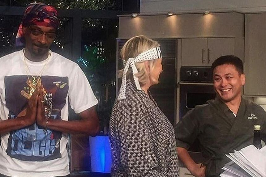 Chef Abe Hiroki (right) was featured on Martha & Snoop's Potluck Dinner Party, lifestyle queen Martha Stewart's show with rapper Snoop Dogg (both above).