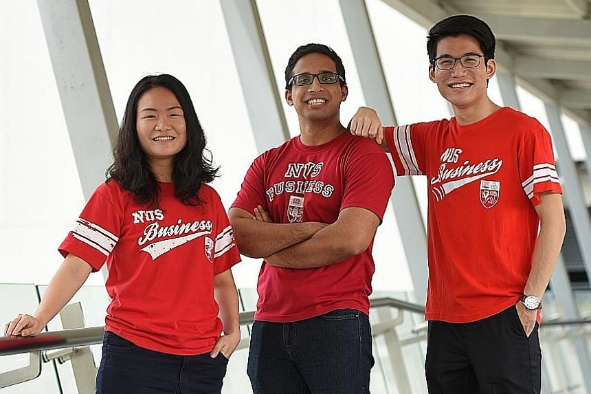Mr Nicolaus Fernandez (centre), together with Ms Low Qiran and Mr Lim Tze Wei, will be among the eight students in total from NUS and Yale-NUS heading to Yale University as part of the programme.