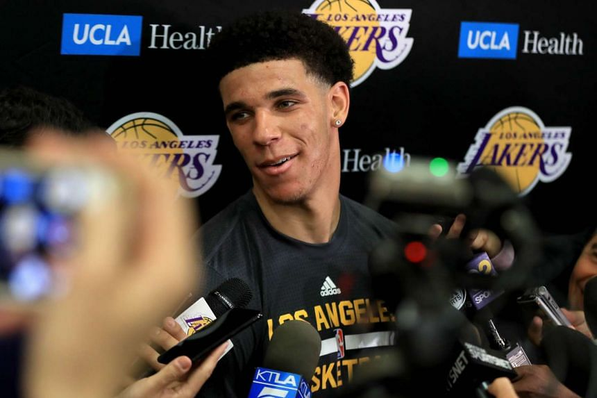 NBA prospect Lonzo Ball, a 19-year point guard like Lonzo Ball, speaking with the media after a workout with the Los Angeles Lakers on June 7, 2017. They are poised to get him as the No. 2 draft pick.