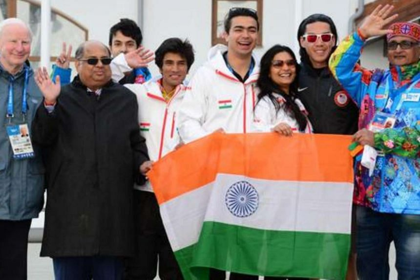 IOA president N. Ramachandran with then European Olympic Committees chief Patrick Hickey and Indian athletes at a flag-raising ceremony during the Sochi Winter Olympics on Feb 16, 2014.