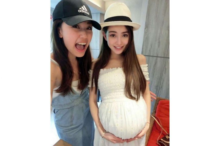 Hannah Quinlivan (right) at a baby shower on June 5, 2017.