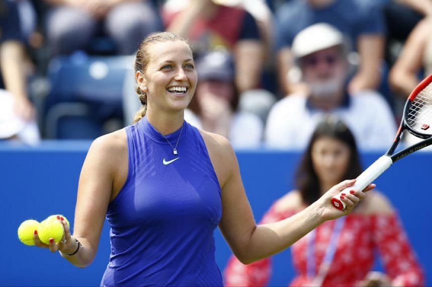 Czech Republic's Petra Kvitova celebrating her victory over her compatriot Tereza Smitkova in the first round of the WTA Birmingham Classic.