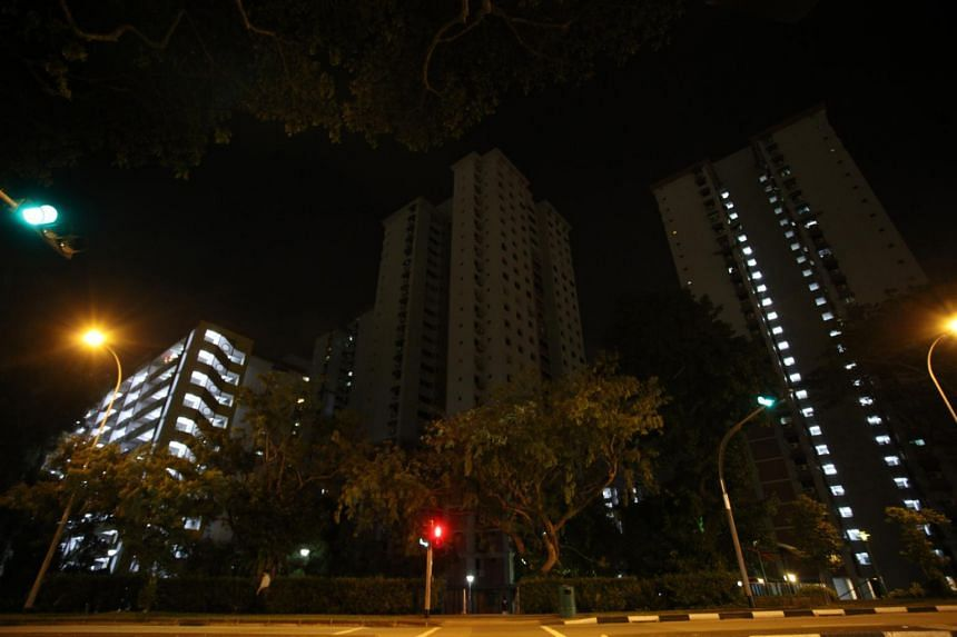 A view of Block 14A in Toa Payoh Lorong 7 in near darkness after the fire, on June 20, 2017.