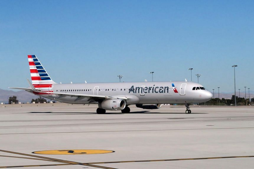 An American Airlines plane on the tarmac of McCarran International Airport in Las Vegas, Nevada.