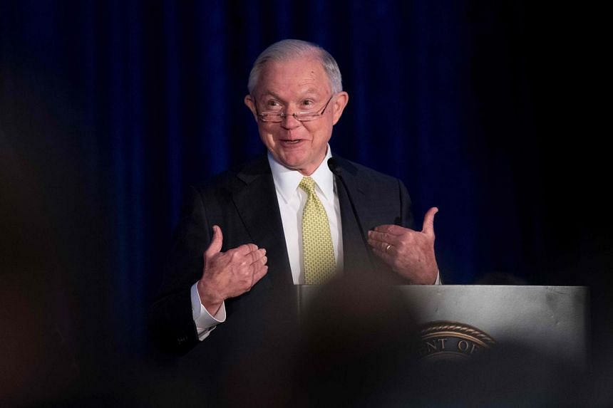 US Attorney General Jeff Sessions addresses the National Summit on Crime Reduction and Public Safety in Bethesda, Maryland.