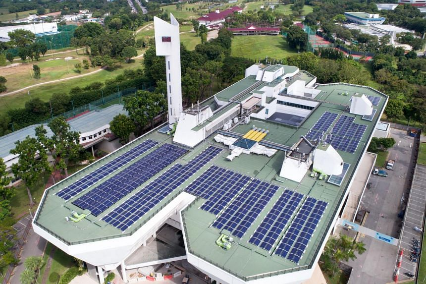 Aerial view of the solar panels on JTC's Jurong Town Hall rooftop.