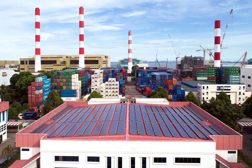 Top view of the solar panels on the rooftop of JTC's standard factories in Tuas South Street 5.