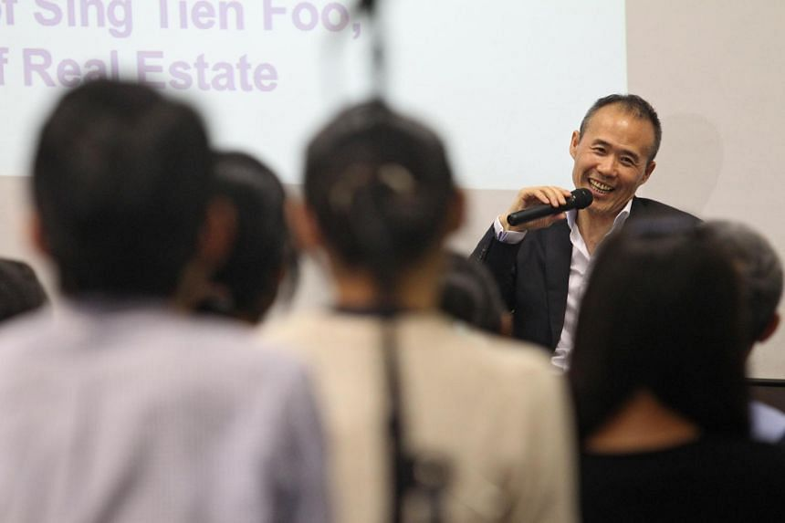 Wang Shi, chairman of Vanke, speaking at a seminar organised by the National University of Singapore (NUS), on April 14, 2014.