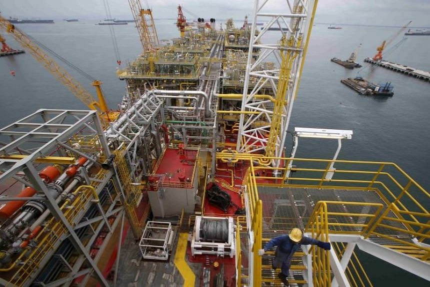 A Floating Production, Storage and Offloading vessel (FPSO) in Jurong Shipyard. Floating storage in Singapore has risen by 23 per cent this year and 32 per cent in the North Sea, estimates Paris-based tracking company Kpler.
