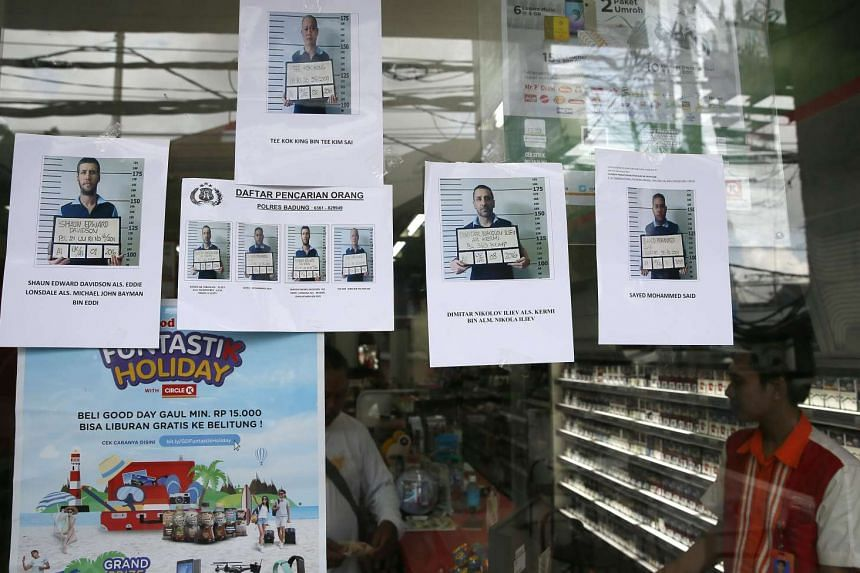 Photographs of the four foreign prisoners who escaped from Bali's Kerokoban Prison posted at a convenient store on June 20, 2017. Bulgarian Dimitar Nikolov Iliev and Indian Sayed Mohammed Said were nabbed in  Dili.