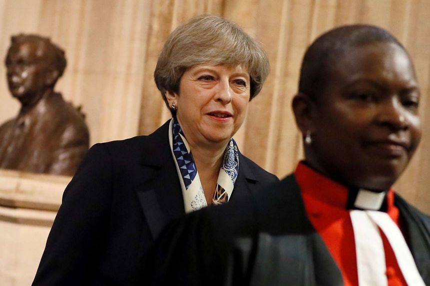 Theresa May attends the State Opening of Parliament in central London, June 21, 2017.